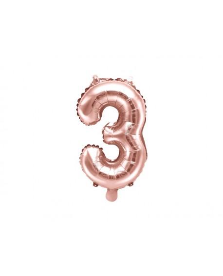 Balon foliowy 35 cm RÓŻOWE ZŁOTO Cyfra 3