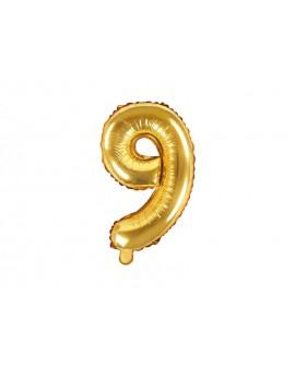 Balon foliowy 35 cm ZŁOTY Cyfra 9
