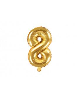 Balon foliowy 35 cm ZŁOTY Cyfra 8