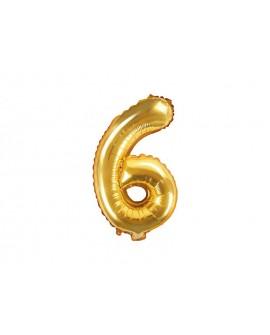 Balon foliowy 35 cm ZŁOTY Cyfra 6