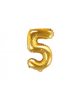 Balon foliowy 35 cm ZŁOTY Cyfra 5
