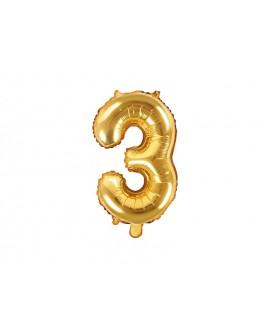 Balon foliowy 35 cm ZŁOTY Cyfra 3