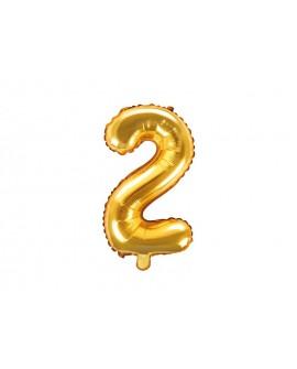 Balon foliowy 35 cm ZŁOTY Cyfra 2