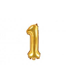 Balon foliowy 35 cm ZŁOTY Cyfra 1