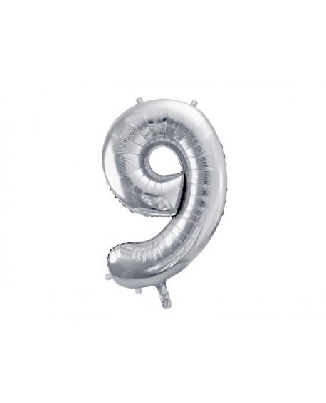 Balon foliowy XXL 86 cm SREBRNY Cyfra 9