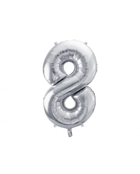 Balon foliowy XXL 86 cm SREBRNY Cyfra 8