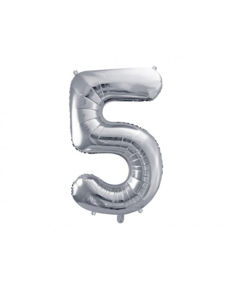 Balon foliowy XXL 86 cm SREBRNY Cyfra 5