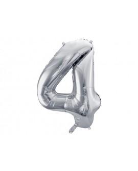 Balon foliowy XXL 86 cm SREBRNY Cyfra 4