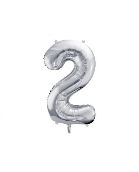 Balon foliowy XXL 86 cm SREBRNY Cyfra 2