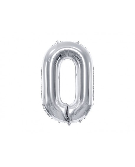 Balon foliowy XXL 86 cm SREBRNY Cyfra 0