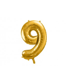 Balon foliowy XXL 86 cm ZŁOTY Cyfra 9