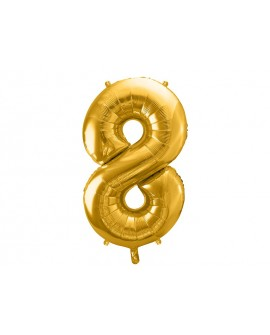 Balon foliowy XXL 86 cm ZŁOTY Cyfra 8