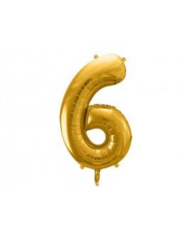 Balon foliowy XXL 86 cm ZŁOTY Cyfra 6
