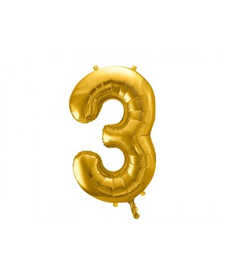Balon foliowy XXL 86 cm ZŁOTY Cyfra 3