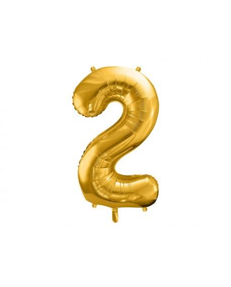 Balon foliowy XXL 86 cm ZŁOTY Cyfra 2