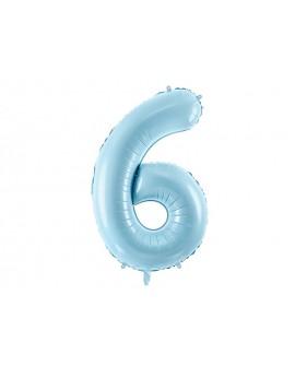 Balon foliowy XXL 86 cm BŁĘKITNY Cyfra 6