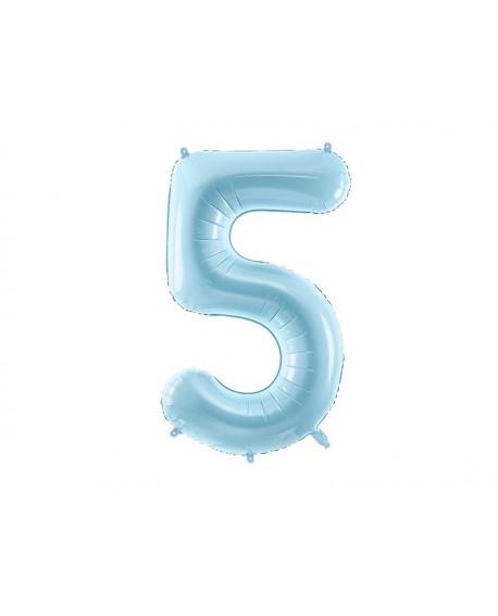 Balon foliowy XXL 86 cm BŁĘKITNY Cyfra 5