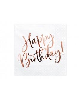 Serwetki Happy Birthday 20 szt. Metaliczny napis Różowe Złoto