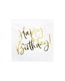 Serwetki Happy Birthday 20 szt. Metaliczny napis Złoto