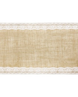 Bieżnik JUTOWY z koronką 28 x 275 cm