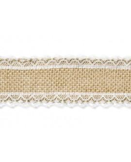 Taśma JUTOWA z koronką 5 x 500 cm