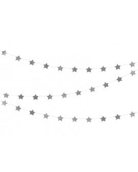 Girlanda GWIAZDKI SREBRNE 3,6 m