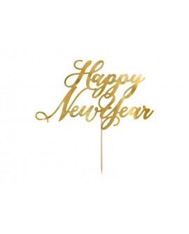 Topper Happy New Year ZŁOTY Ozdoba na tort