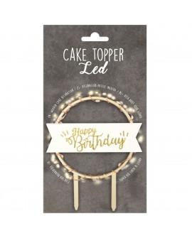 Topper Happy Birthday drewniany LED świeci