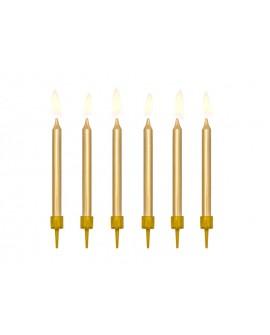 Świeczki urodzinowe 6 cm ZŁOTE GŁADKIE 6 szt