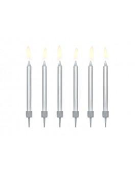 Świeczki urodzinowe 6 cm SREBRNE GŁADKIE 6 szt