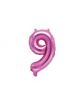 Balon foliowy 35 cm C RÓŻOWY Cyfra 9