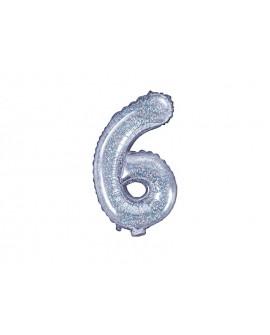 Balon foliowy 35 cm HOLOGRAFICZNY Cyfra 6