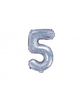 Balon foliowy 35 cm HOLOGRAFICZNY Cyfra 5