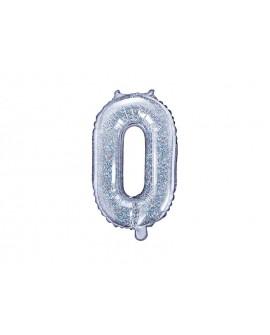 Balon foliowy 35 cm HOLOGRAFICZNY Cyfra 0